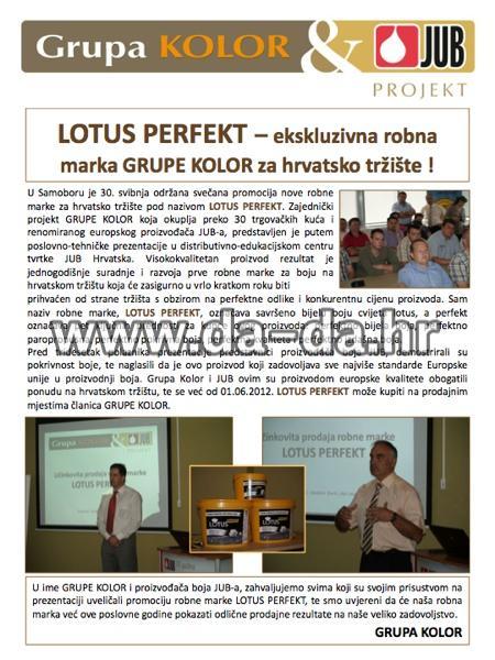 Lotus Perfekt -ekskluzivna roban marka boje iz grupe KOLOR za Hrvatsko tržište